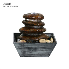 Mini 3 tier craft indoor resin stone water fountain LED