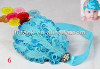 Infant feather flower headband
