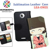 Blank Sublimation flip leather cover case for htc one x