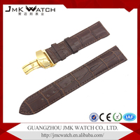 Fashion style brown bamboo grain matte genuine 22mm leather cuff watch band for watch with gold long clasp