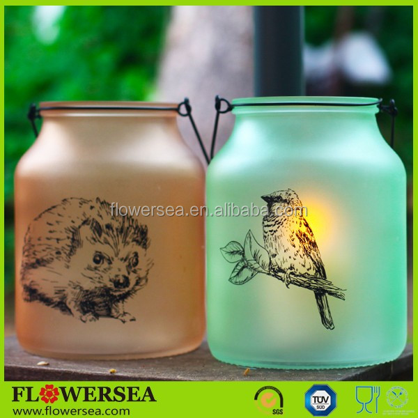 Flowersea 2017 new design home decoration and wedding centerpieces colorful printed tall glass candle holder with handle