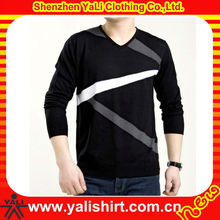 Hot sale comfortable v-neck cotton fashion stripe long sleeve cotton/polyester no name brand t-shirts