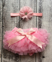Hot Selling Girls Pants With Pink Tutu Bloomer And Floral Headband Baby Short Pants Girls Wear NP-G-CS905-33