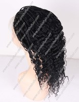 14inch 1# braided in front wavy at back 7a grade brazilian remy hair lace front wig with baby hai
