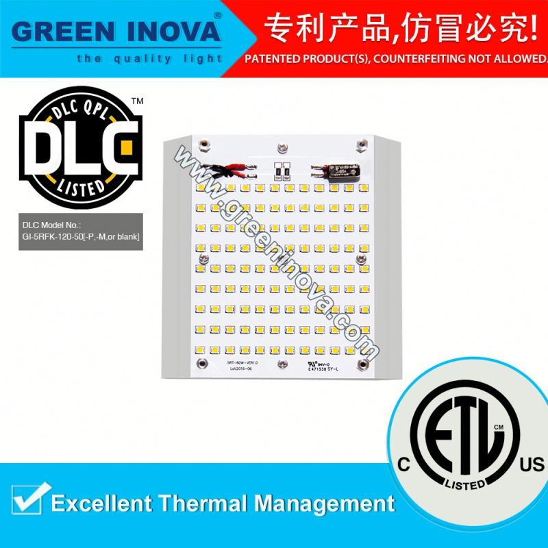 DLC Premium 2017 new design ETL cETL 10 years warranty 120w gas station LED canopy lighting retrofit kits LM79 LM80 IES