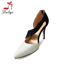 2018 women stiletto ankle strap lady dress high heeled pu sandals with elastic