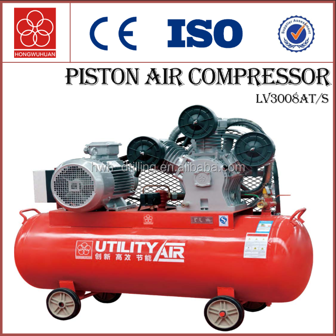 Air-cooled electric portable reciprocating piston air compressor