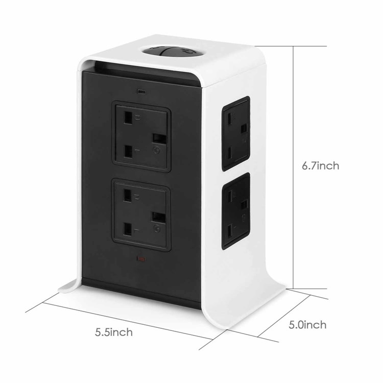 UK Standard 2M Extension Cord Multi-funtion Electrical Sockets with 4 USB ports