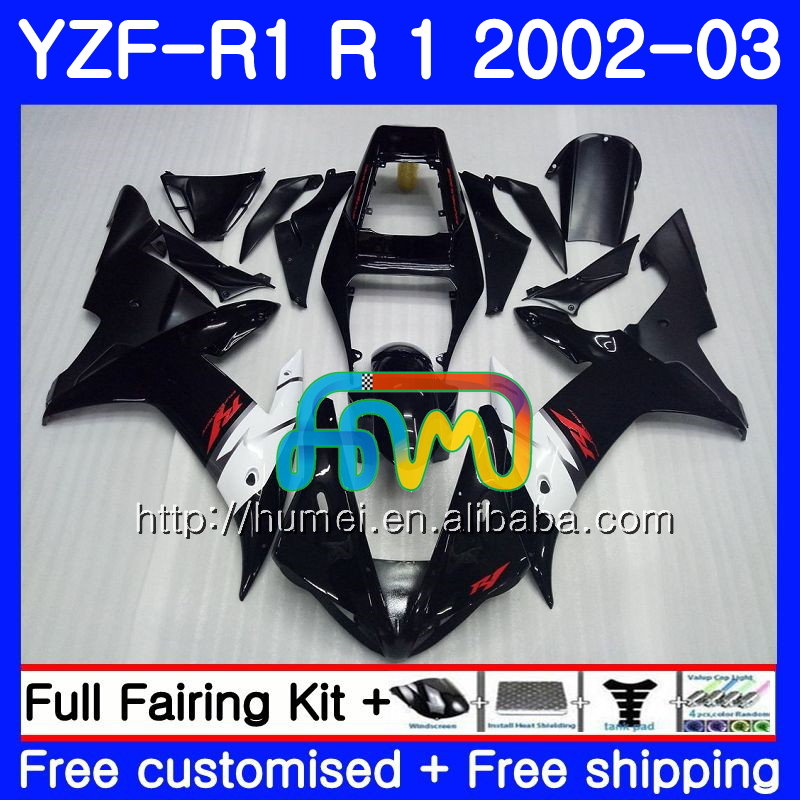 Body For YAMAHA YZF glossy black 1000 YZFR1 <strong>02</strong> <strong>03</strong> YZF-1000 Bodywork 99HM6 YZF R 1 YZF <strong>R1</strong> <strong>02</strong> <strong>03</strong> YZF1000 YZF-<strong>R1</strong> 2002 2003 <strong>Fairing</strong>