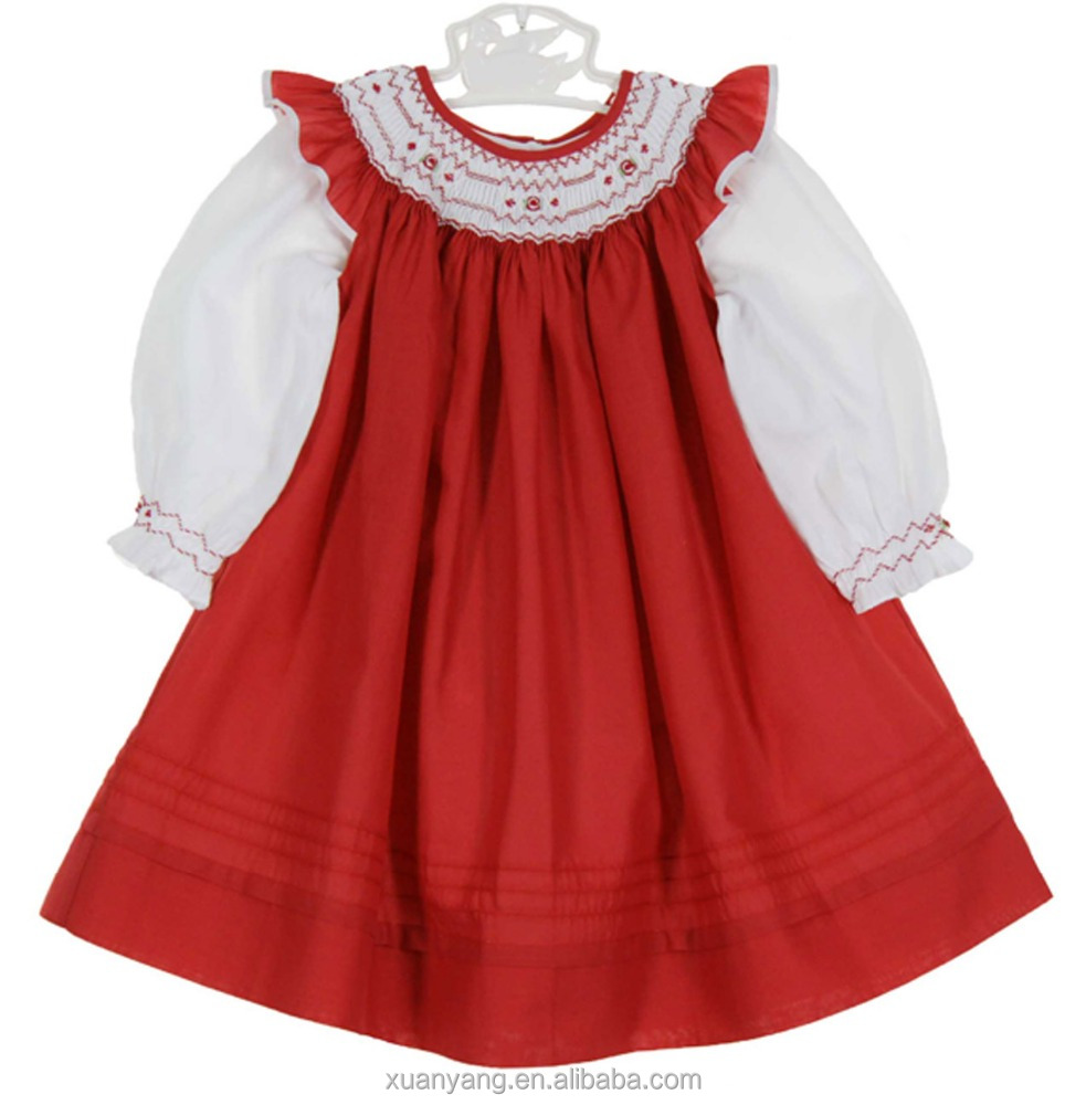 New style embroider fancy baby smocking long sleeve dresses frock design for baby girl