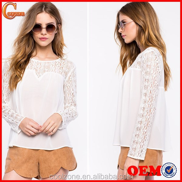 Contrast solid body sweetheat hem white lace blouse,women crocheted blouses
