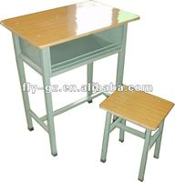 Using wooden yellow college single student desk chairs set for sale/ single student chairs with desk