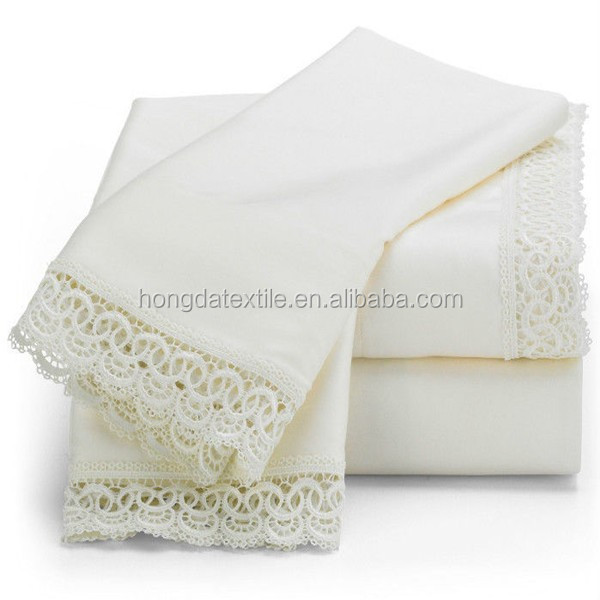 300TC cotton sateen luxury home textile,bed sheet designs with lace