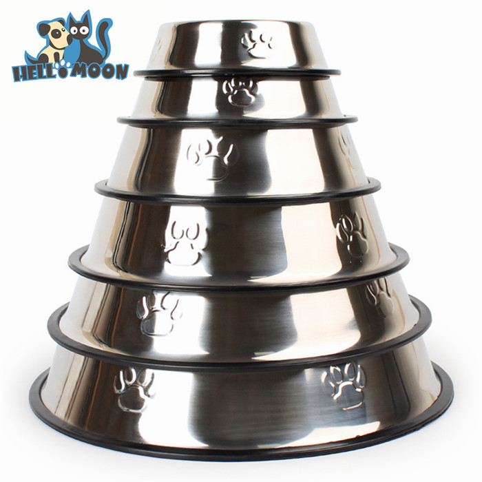 Wholesale Personalized Paw Print No Spill Stainless Steel Dog Food Bowl