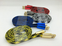 Newest metal flat braided usb cable micro cable for iphone ,flat 2A usb cable for android smart phone