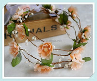 Rustic Floral Bridal Crown Wedding Headband Silk Flower Head Wedding Wreath Hair Piece Woodland Crown Flower Girl Tiara