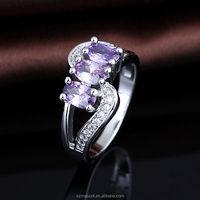 latest fresh amethyst gemstone simple jewelry making supplier ring set