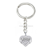 Crystal heart shaped customized louise word letter key chain