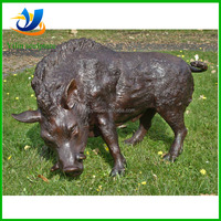 Life size brass wild boar statue for garden ornament