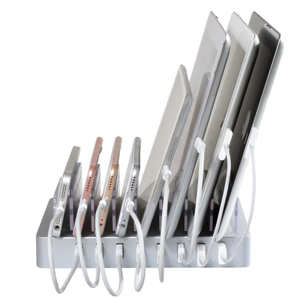 8 Ports Charging Station 8*2.4A USB Charger with Stand and Switch Docking Station for Mobile Phones and Tablet PC white US