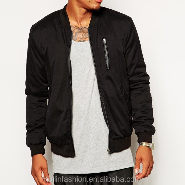 clothing 2015 black front bust pocket fashion man bomber jacket
