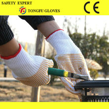 100% Polyester Material ESD PVC Dotting gloveNatural White Cotton Gloves With PVC Dots Bleached White