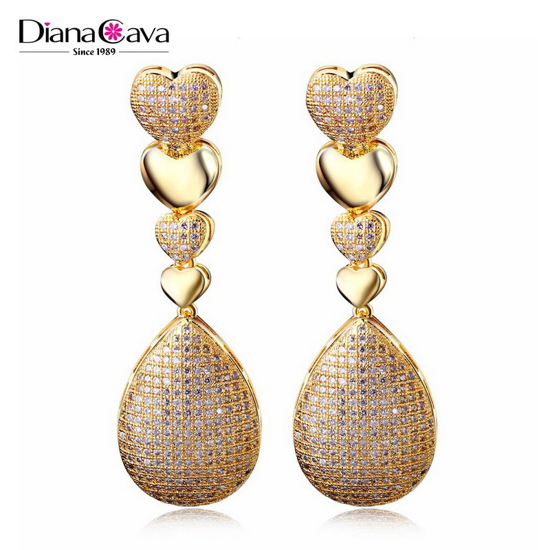 Free $600 Coupon Romantic Gift Cubic Zirconia Micro Pave Setting Heart Drop Earrings
