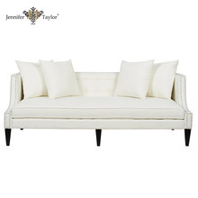 Stylish sofa furniture living room 3 seater couch sofa, guest room white fabric nail trimmed button tufted sofa