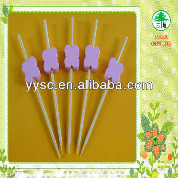 Pink color pearl decorative toothpicks