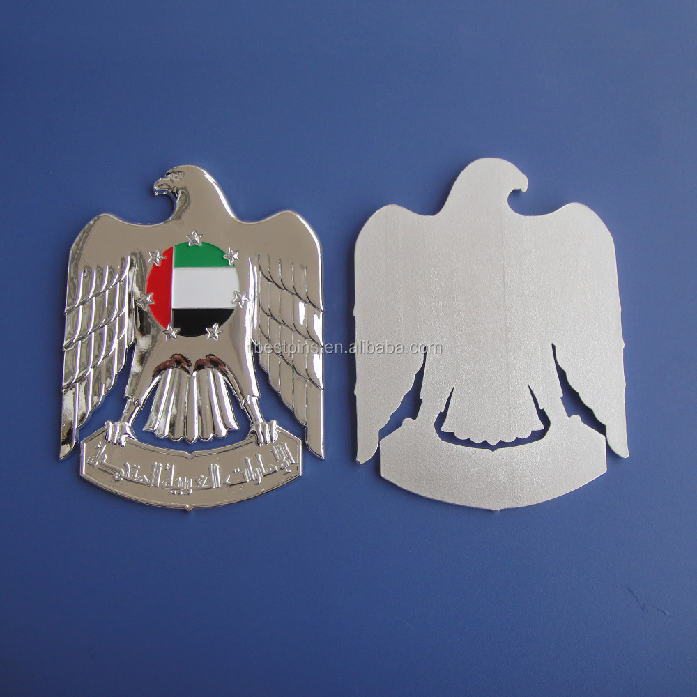 UAE metal logo silver chrome eagle with color only on the flag from UAE trophy