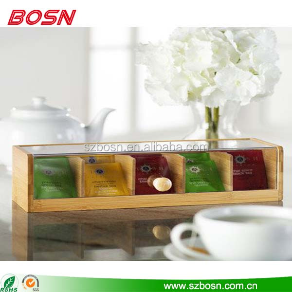 manufactory custom acrylic tea storage box with lid wooden bags
