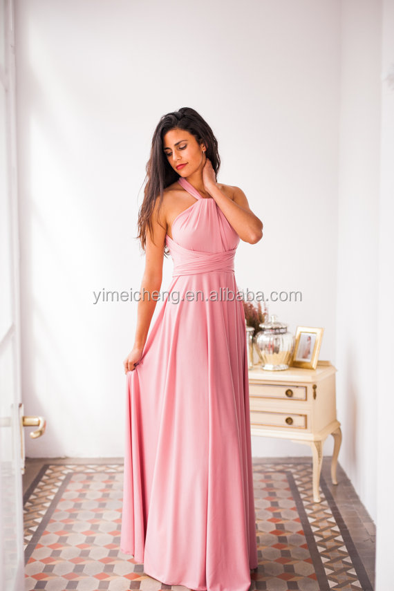 Backless convertible dress pink long gown sexy party dress pictures of latest gowns designs