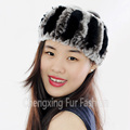 CX-E-37T Girls New Fashion Knitted Rex Rabbit Fur Neck & Elastic Headband