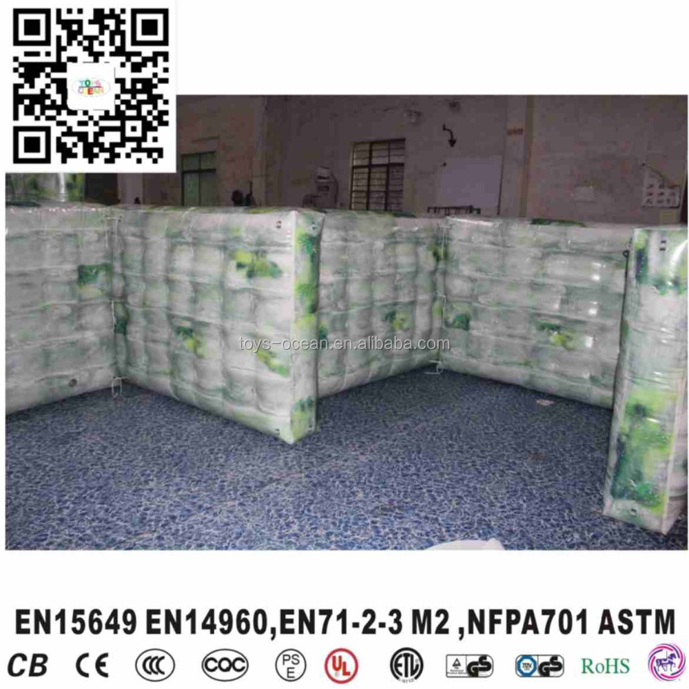 2016 Cheap inflatable bunker broken wall/inflatable used paintball wall hot sale