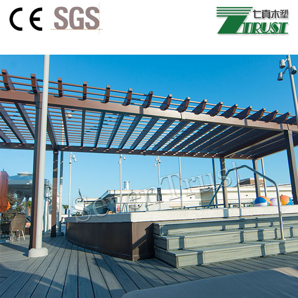 Seven Trust Pergola + ShadeTree Canopy takes the classic pergola and adds a manually retractable fabric canopy system for maximu