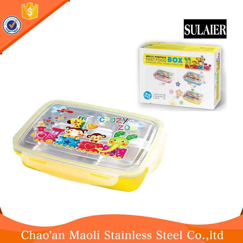 OEM Available Lids Stainless Steel Lunch Box With Cartoon Image Lock