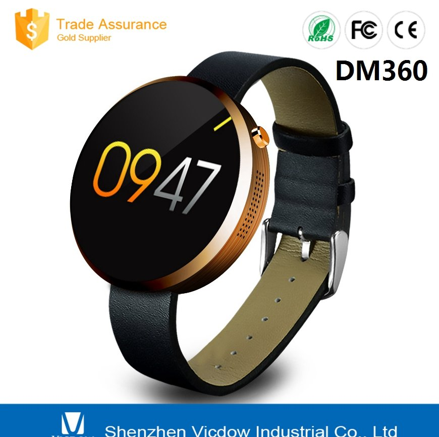 2016 Bluetooth Smart watch round DM360 Smart watch for IOS and Andriod Mobile Phone