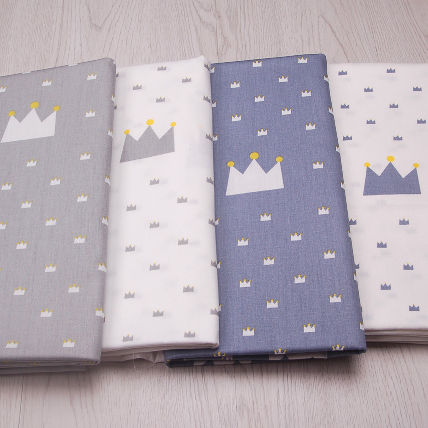 Blue and gray imperial crown cotton fabric 100% cotton cartoon printed indonesia cotton printed fabric