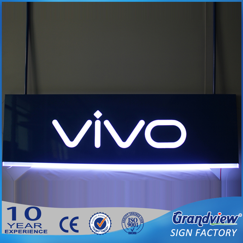 Cellphone brand suspending sign board, acrylic illuminating hanging light box china supplier