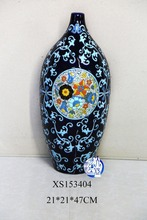 hot sale customized blue floral ceramic porcelain flower vase for home decoration