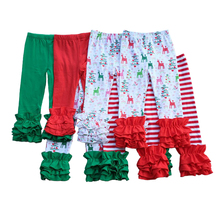 Kids Girls Striped Christmas Cotton Ruffle Pants in a Variety of Colors & Sizes