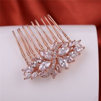 Rose Gold Flower Hair Combs Factory Wholesale CZ Bridal plain hair clips