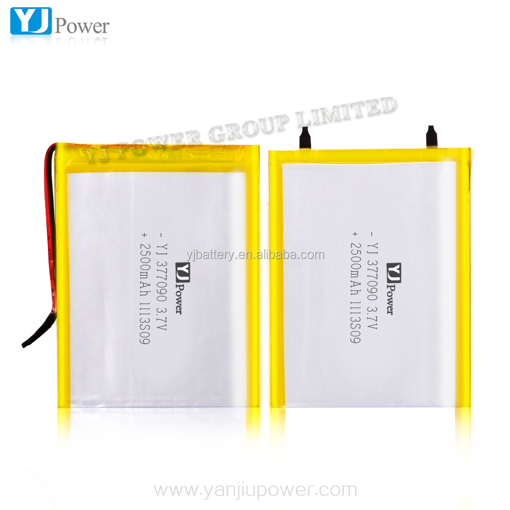 ultra thin lithium 3.7V 2500mAh 2100mah 377090 li polymer Battery fwiith high quality battery for computer ,laptop