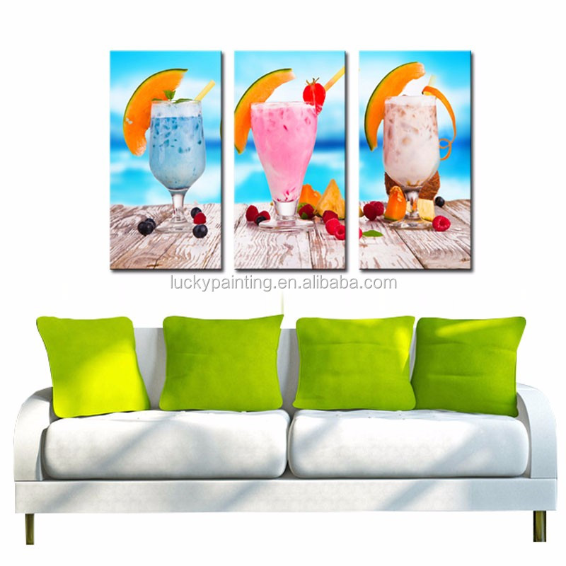 LK344 3 Panel Summer Cold Drink Fruits On The Table Oil Painting Wall Art Mordern Pictures Print On Canvas Paintings Sale For Ho