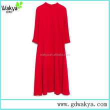 Ladies Elegant long Sleeve Red color Dating/shopping Evening Dress
