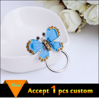 New product 2016 silver plating blue enamel yellow rhinestone butterfly magnetic eyeglass holder