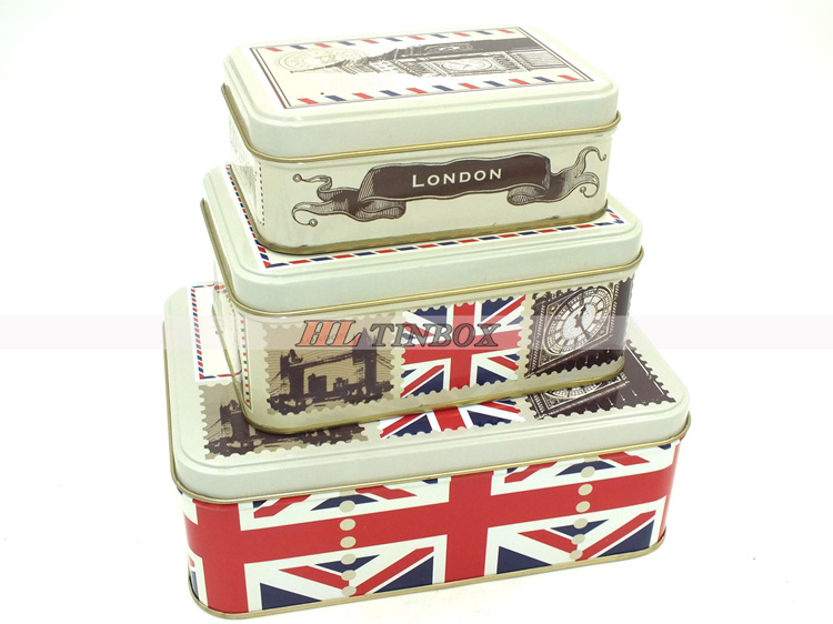 High End Printed Rectangular Cookie Gift Tin Can