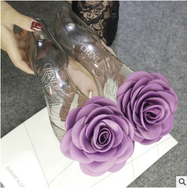 Butterfly shape transparent flat sandals for women