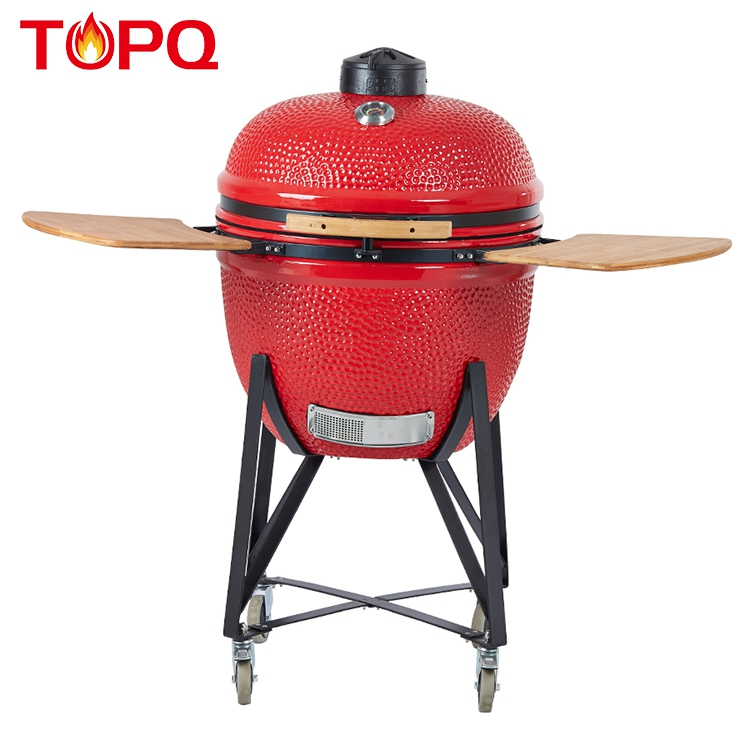 TOPQ high quality commercial 25 inch pallet outdoor rotating charcoal smoker ceramic bbq kamado grill