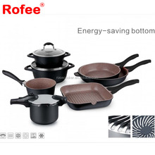 9pcs Marble Non Stick Heat-resistant Coating Decorative Jumbo Cookware Set with Energy-Saving Bottom
